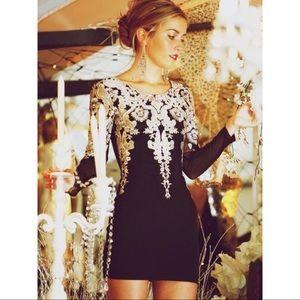 Dresses & Skirts - Gold Embroidered Long Sleeve Black Mini Dress